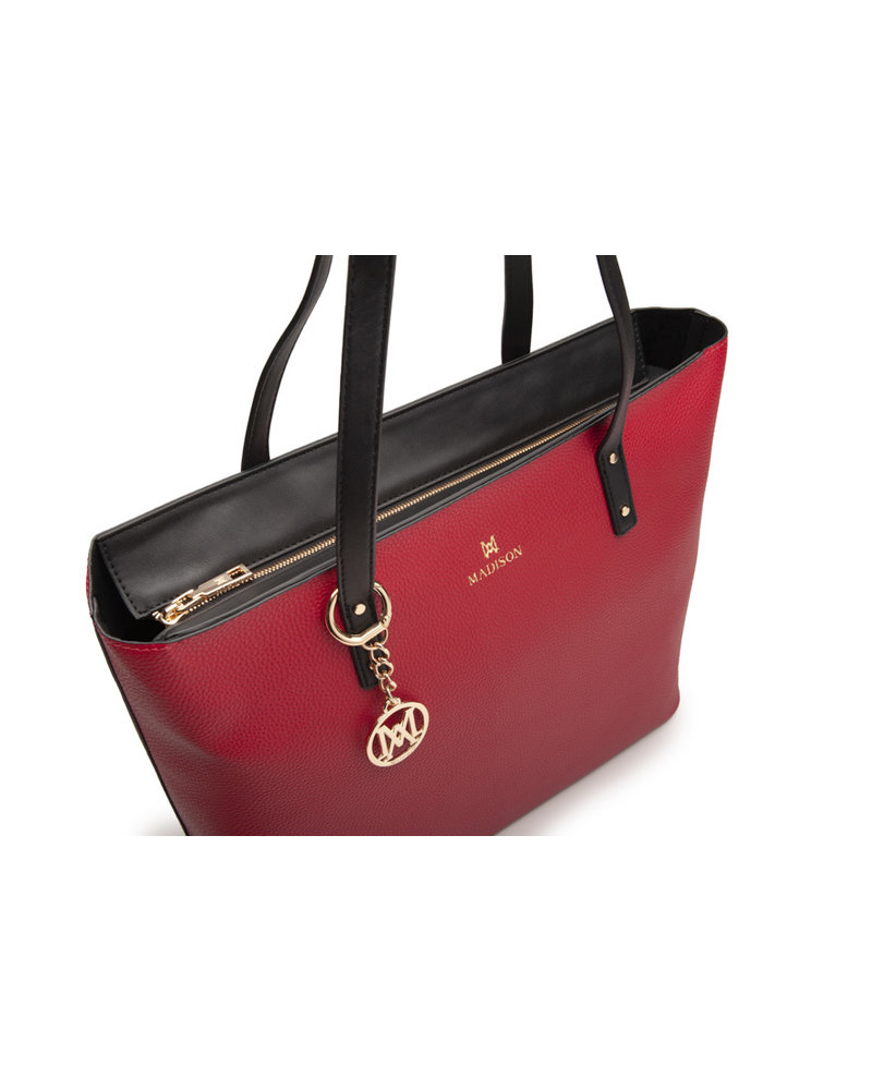 MADISON EVELYN UNLINED SHOPPER - RED