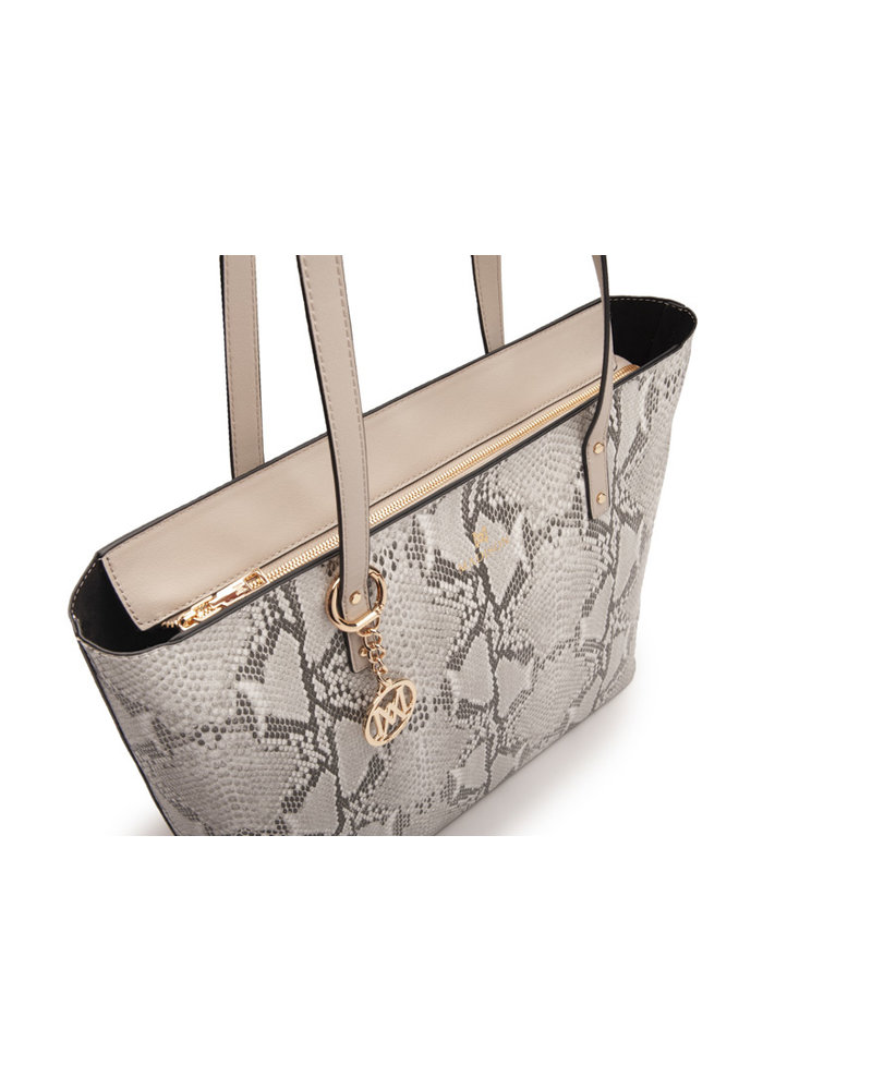 MADISON EVELYN UNLINED SHOPPER - TAUPE PYTHON