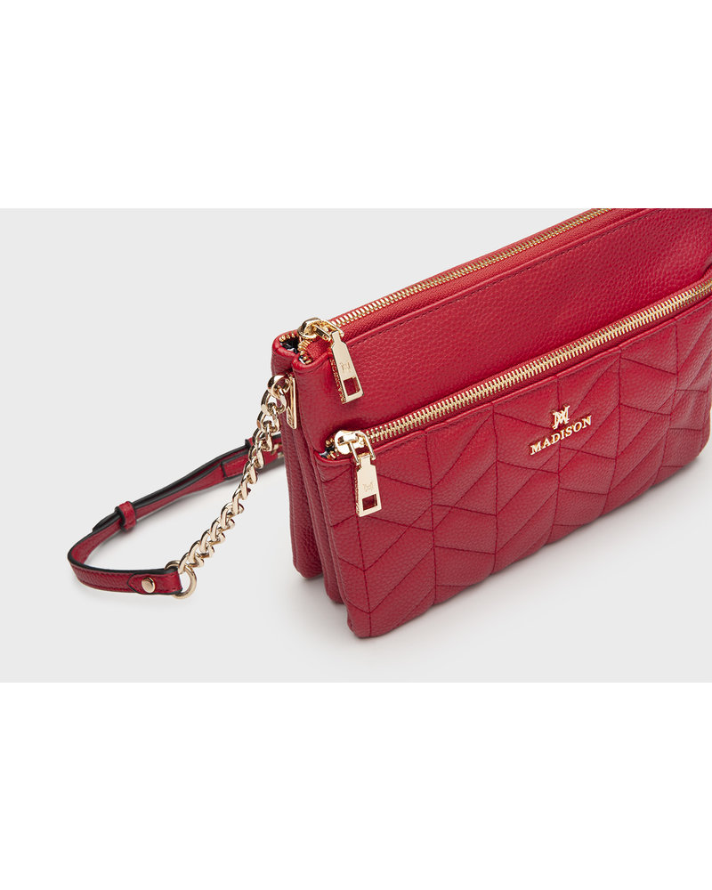 MADISON MAGGIE CHAIN HANDLE 3 GUSSET CROSSBODY - RED QUILT