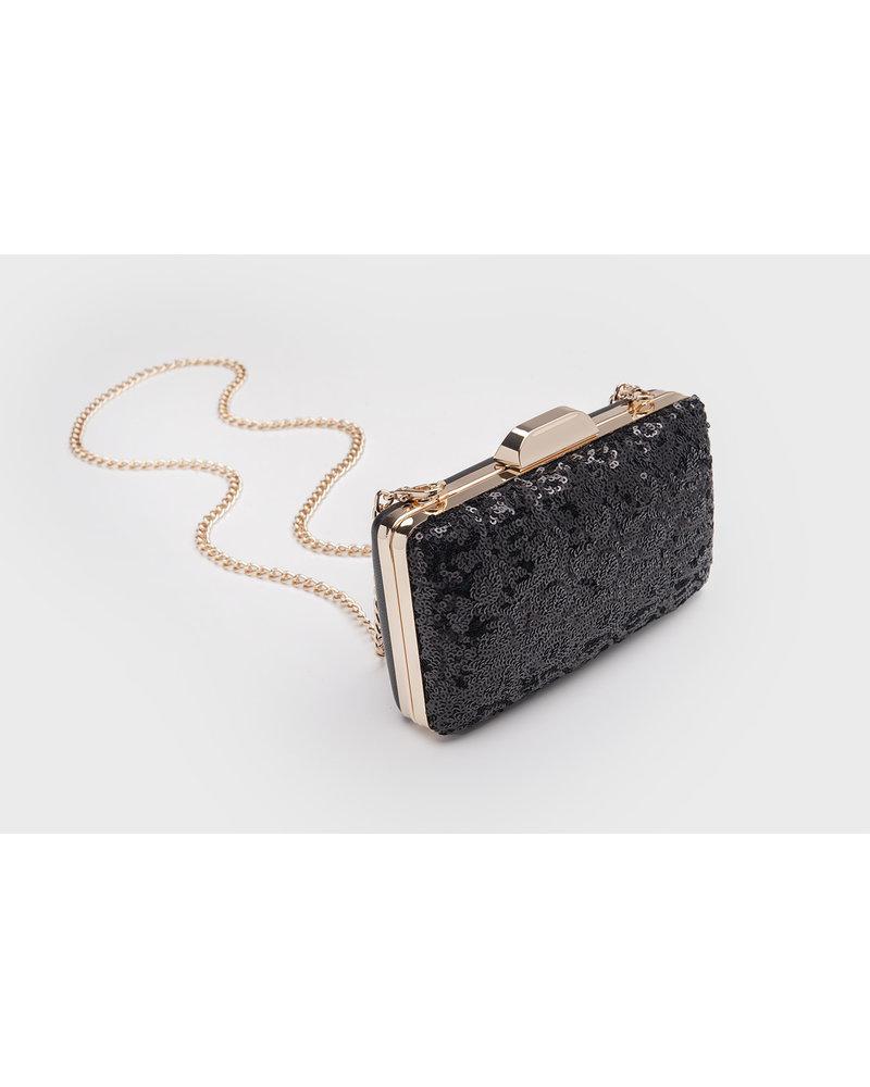 MADISON Lola Box Minaudiere - Black Sequin
