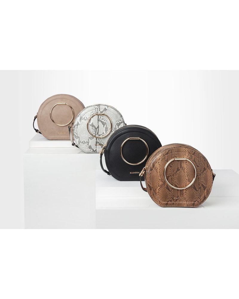 MADISON OLIVIA RING HANDLE CIRCLE CROSSBODY - BLACK