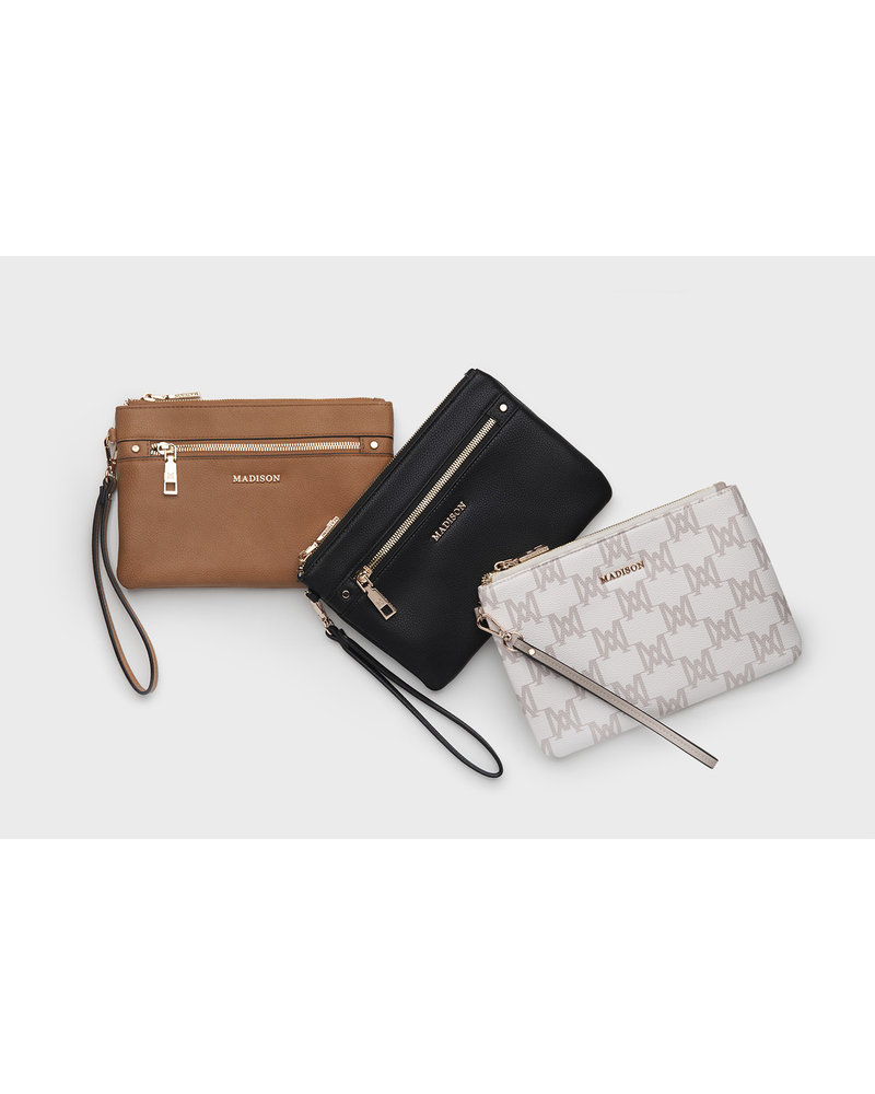 MADISON Eliza Large Zip Pouch w/ Front Zip - Taupe Python