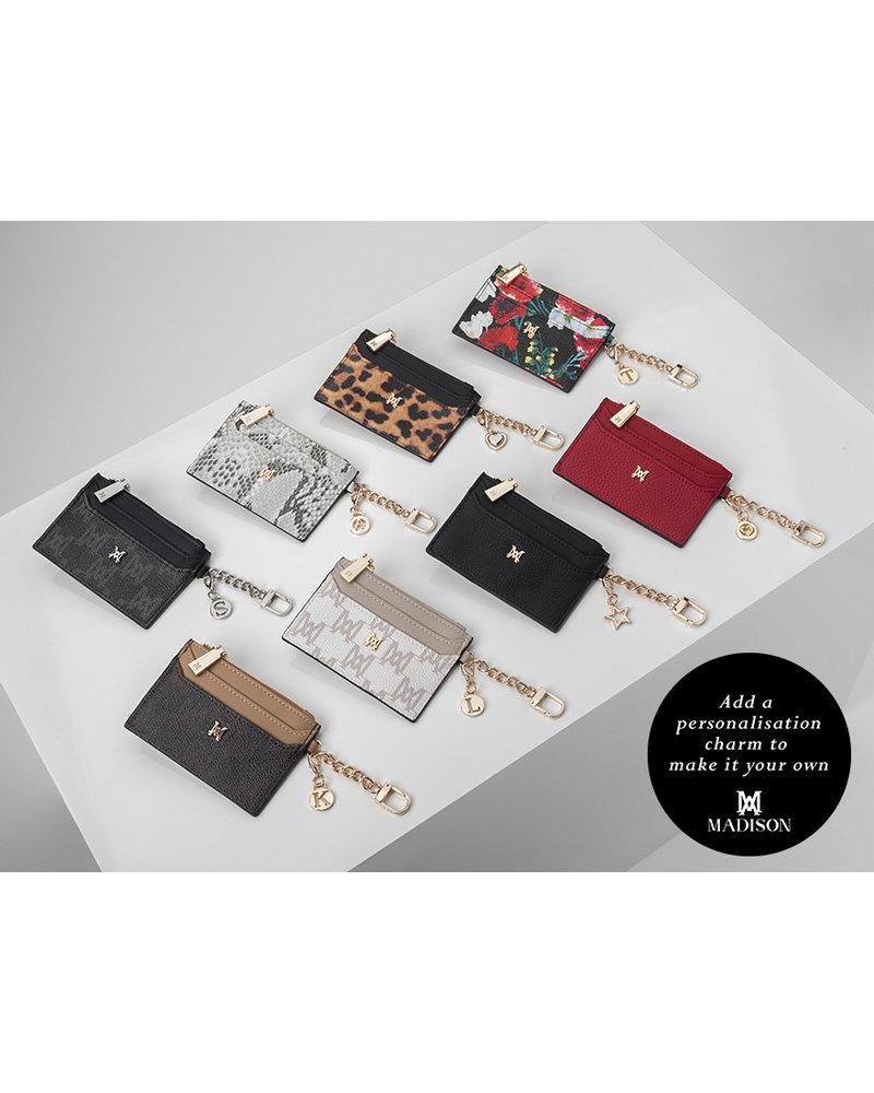 MADISON HANNAH ZIP CARD CASE CLIP ON - LEOPARD/BLACK