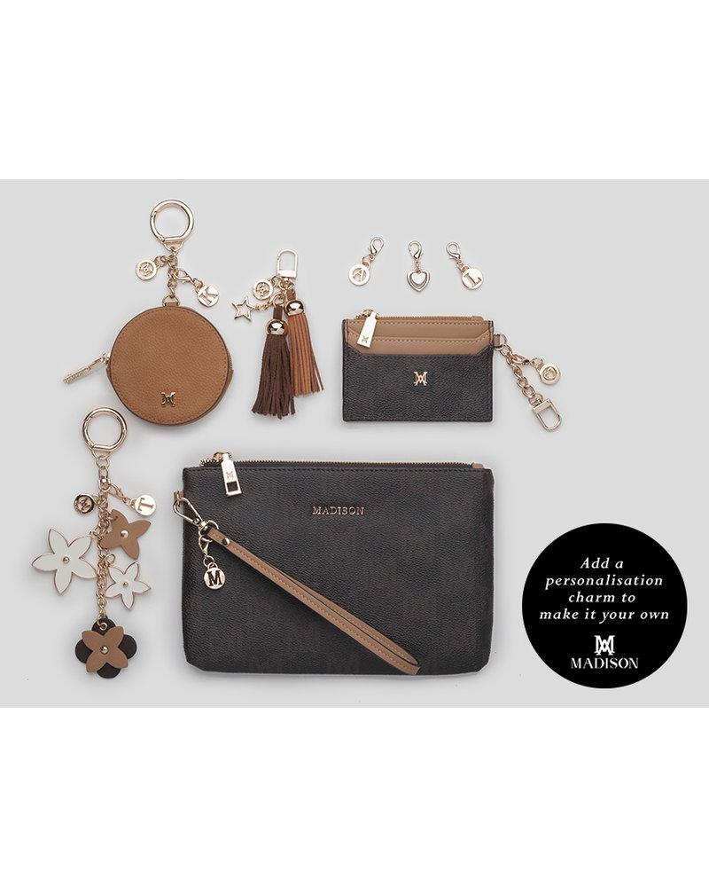 MADISON HANNAH ZIP CARD CASE CLIP ON - CHOC MA PRINT