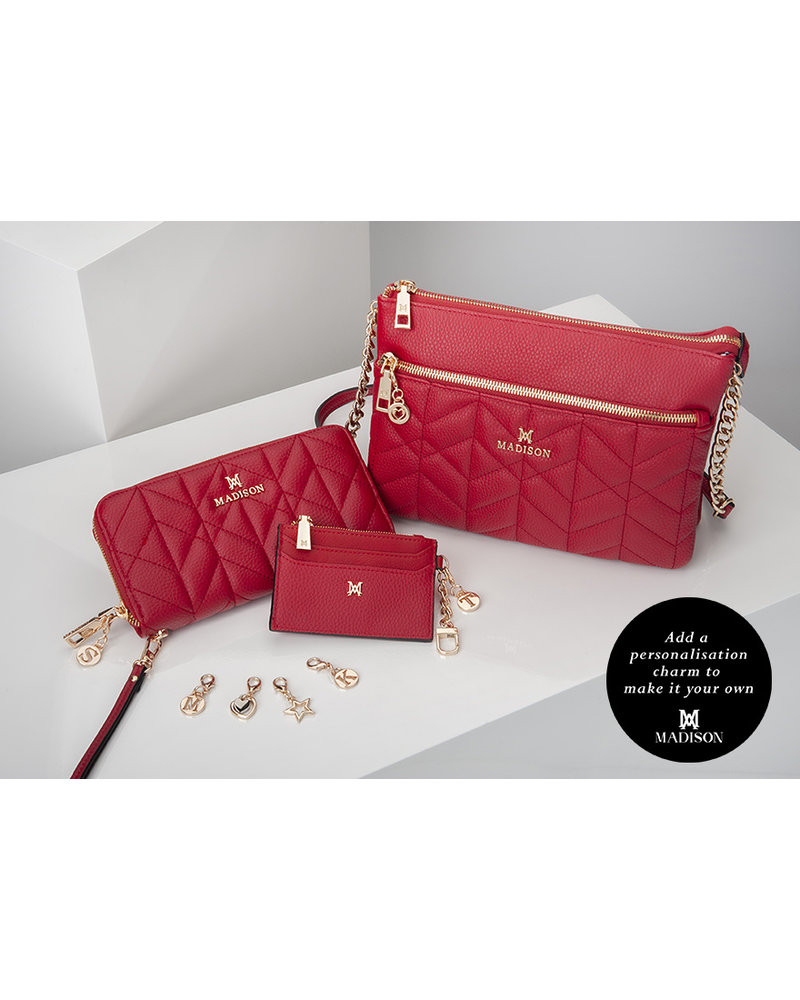 MADISON HANNAH ZIP CARD CASE CLIP ON - RED