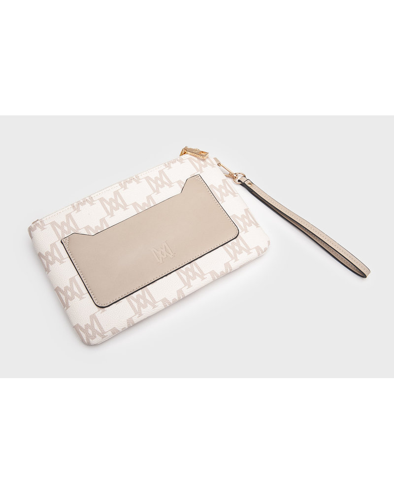 MADISON ELIZA LARGE ZIP POUCH WITH FRONT ZIP MP-1002A ECRU - MA Print