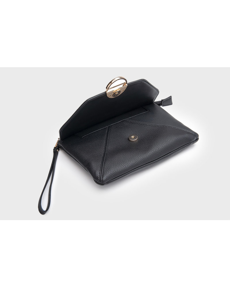 MADISON BELLA LARGE ZIP POUCH WITH FRONT POCKET - BLACK