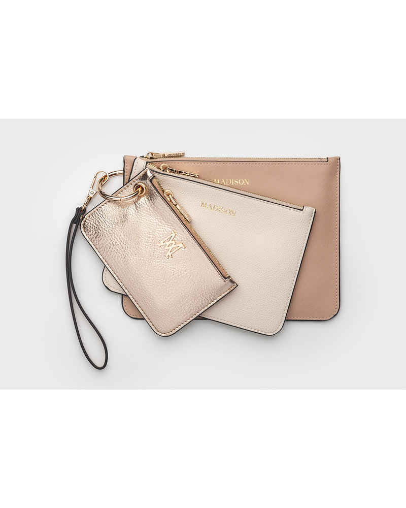 MADISON KATIE 3 PIECE ZIP POUCH SET - ROSE GOLD/NUDE/DUSTY BLUSH
