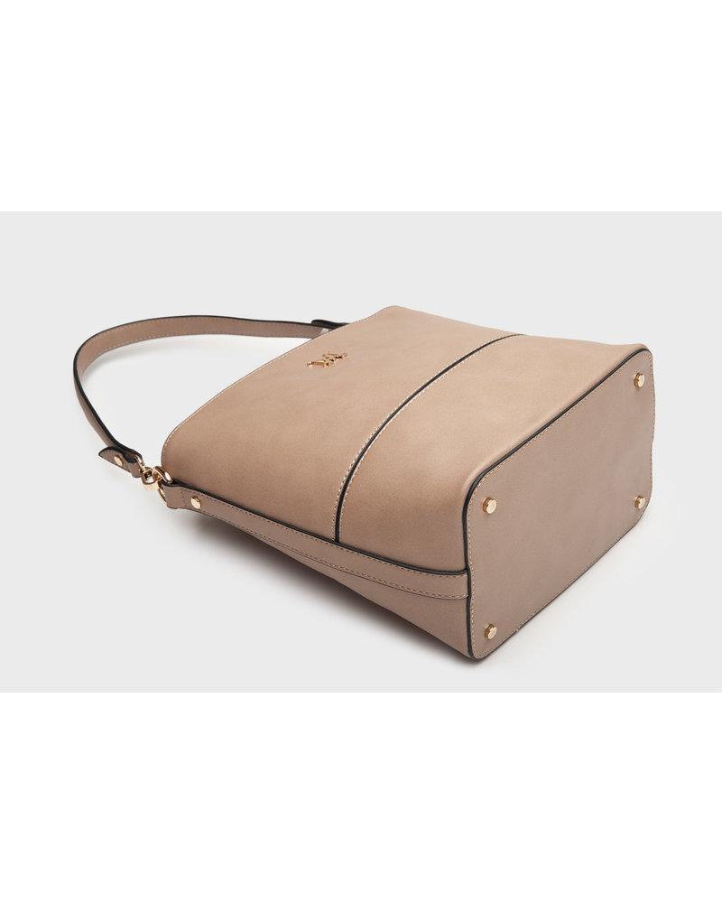 MADISON KIMMI BUCKET BAG WITH DRAWSTRING CLOSURE - TAUPE PYTHON