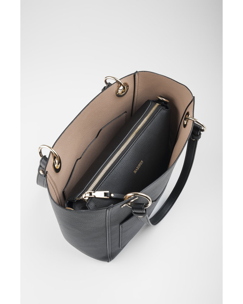 MADISON 4 IN 1 REVERSABLE TOP & CROSSBODY BAG - BLACK/TAUPE