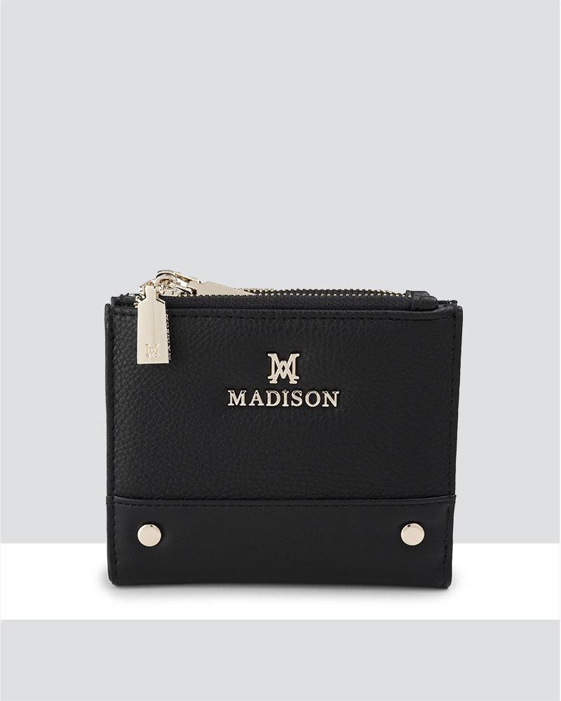 MADISON Arabella Small Double Zip Pocket Wallet - Black