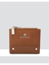 MADISON ARABELLA SMALL DOUBLE ZIP POCKET WALLET -LT TAN