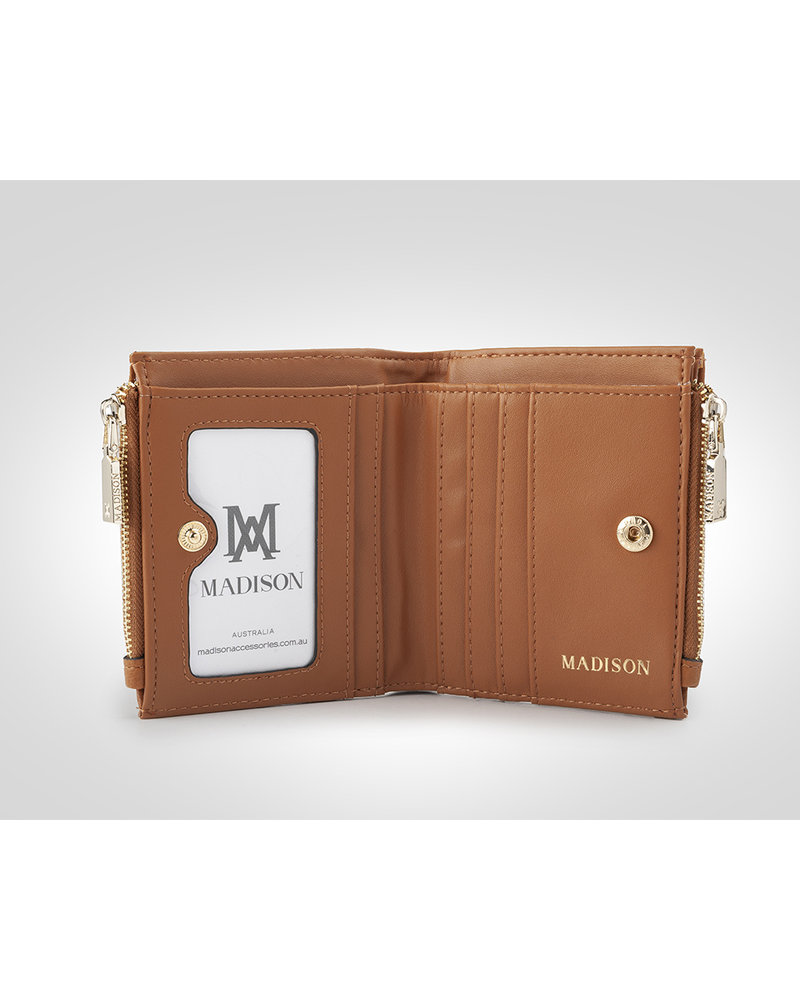 MADISON Arabella Small Double Zip Pocket Wallet - Tan