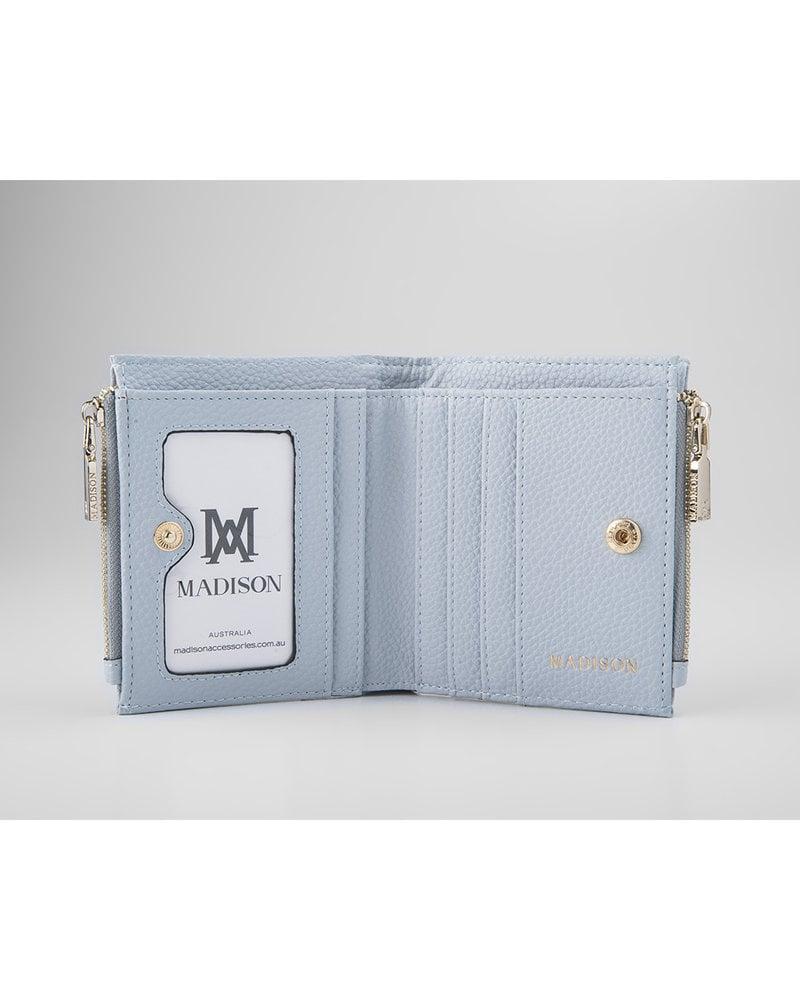 MADISON Arabella Small Double Zip Bifold Wallet - Powder Blue
