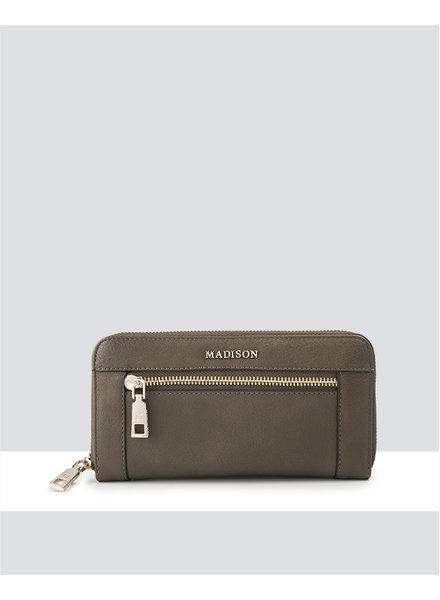 MADISON Abigail Ziparound Open Clutch Wallet - Olive Green