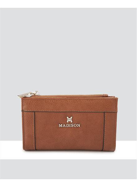 MADISON Lexi Medium Bifold Zip Wallet - Dk Tan