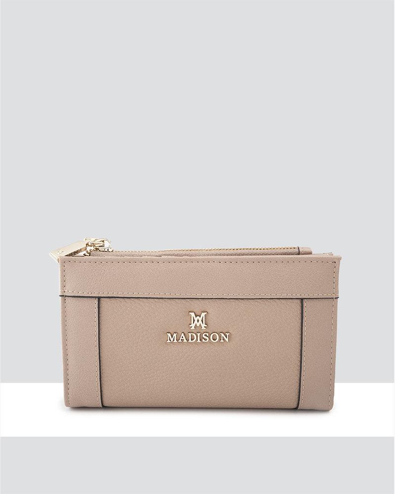 MADISON Lexi Medium Bifold Zip Wallet - Taupe