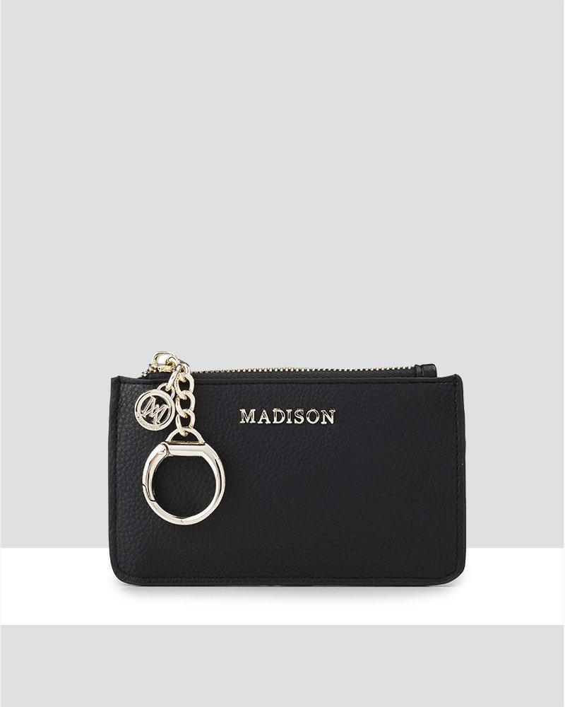 MADISON VIVIENNE ZIP PURSE WITH CARD SLOTS -  BLACK