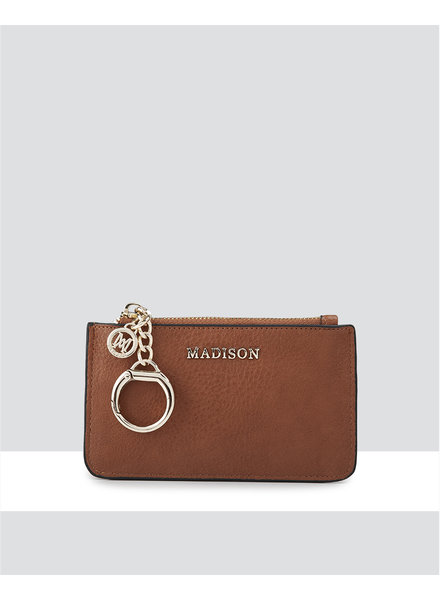 MADISON VIVIENNE ZIP PURSE WITH CARD SLOTS -  DK TAN