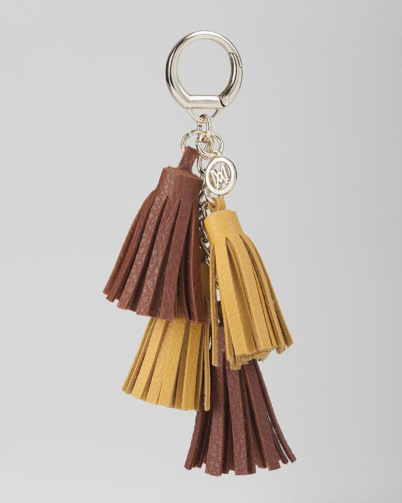 MADISON Rebecca 4 Tassel Key Chain - Tan/Yellow