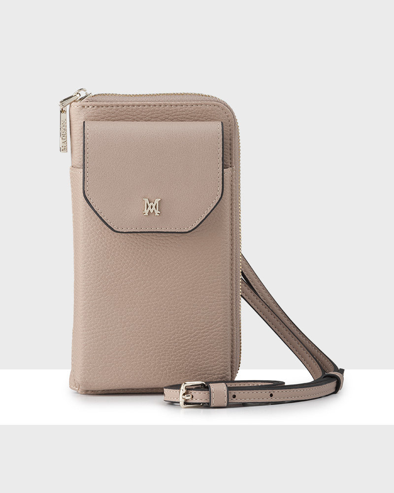 MADISON Hallie Large Tech Wallet Sling - Taupe