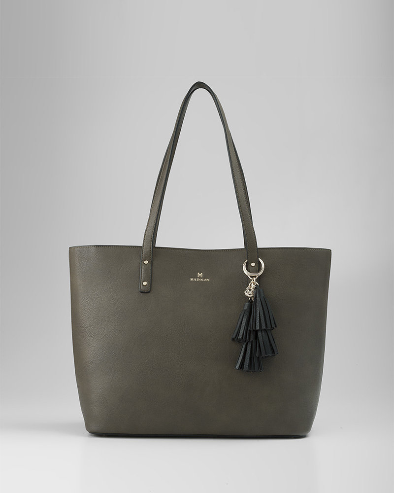 MADISON EVELYN UNLINED SHOPPER TOTE - OLIVE GREEN