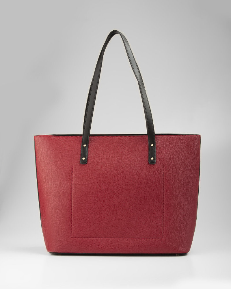 MADISON EVELYN UNLINED SHOPPER TOTE - RED/BLACK