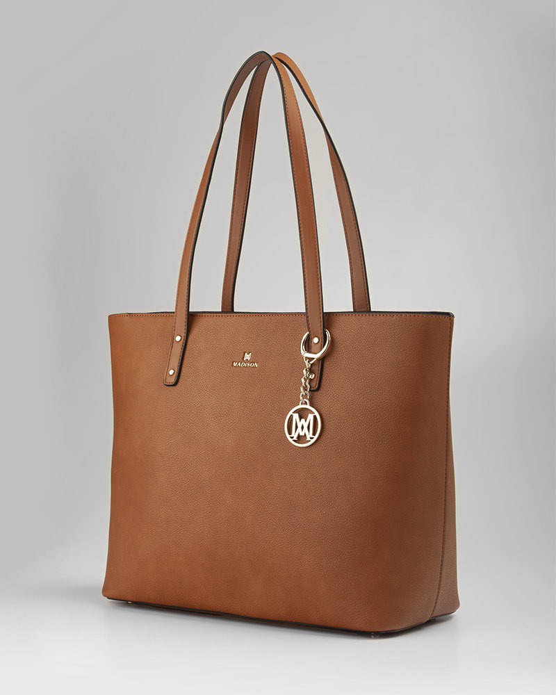 MADISON Evelyn Unlined Shopper Tote - Lt Tan