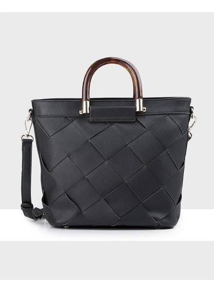 MADISON Lucinda Tortoise Shell Handle Bucket Bag - Black