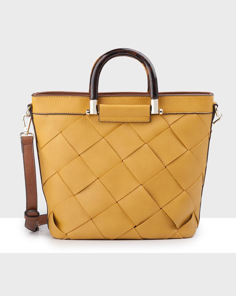MADISON Lucinda Tortoise Shell Handle Bucket Bag - Yellow