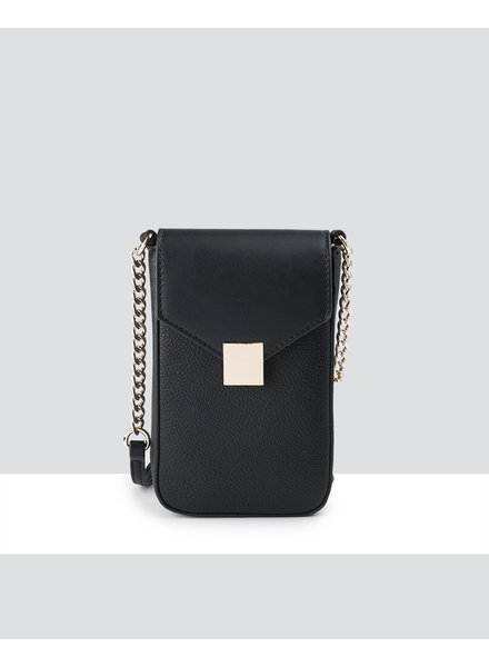 MADISON Lia Flapover Phone Bag Mini Tech Crossbody - Black