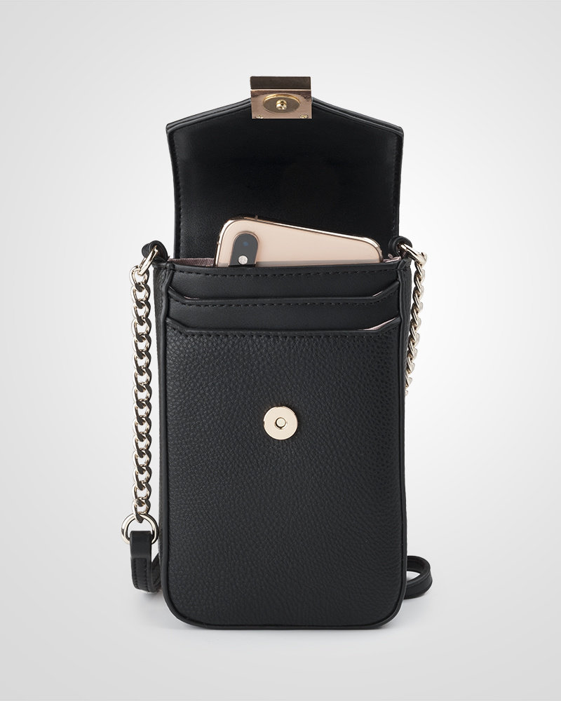 MADISON LIA FLAPOVER PHONE BAG - BLACK