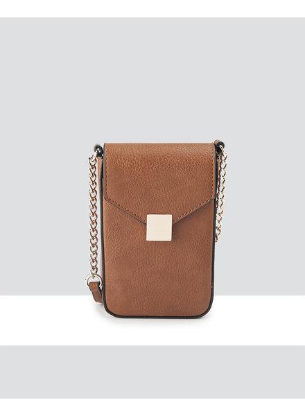 MADISON Lia Flapover Phone Bag Mini Tech Crossbody - Lt Tan