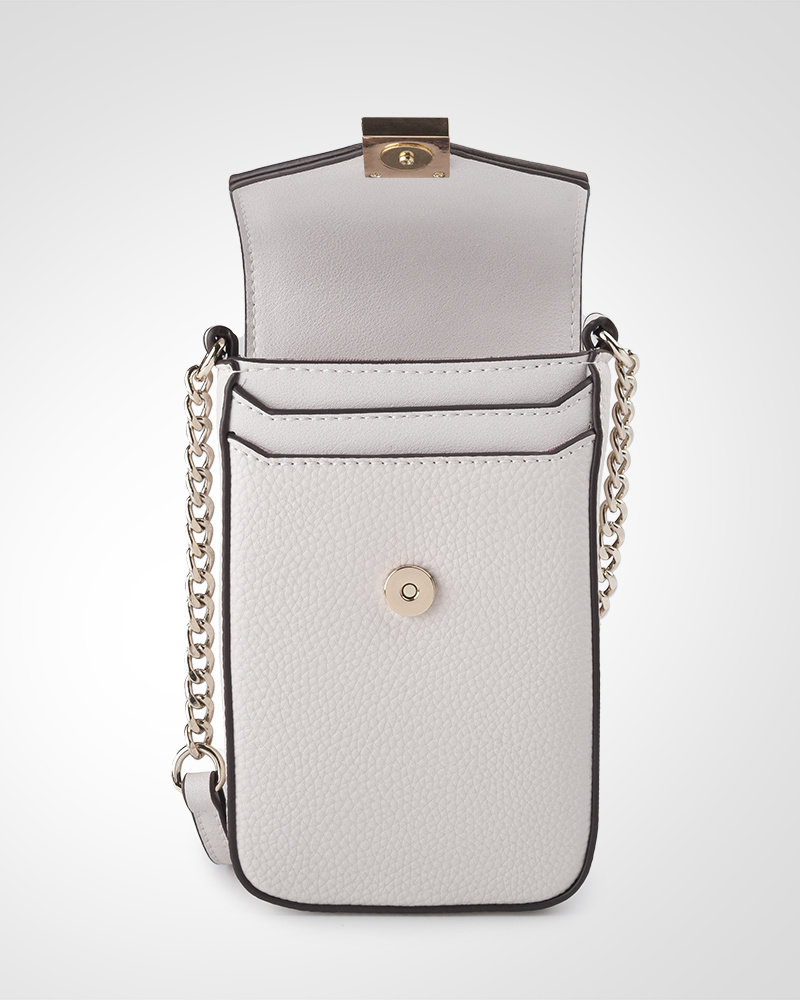 MADISON Lia Flapover Phone Bag Mini Tech Crossbody - Stone