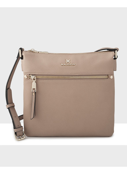 MADISON Renee N/S 2 Compartment Crossbody - Taupe