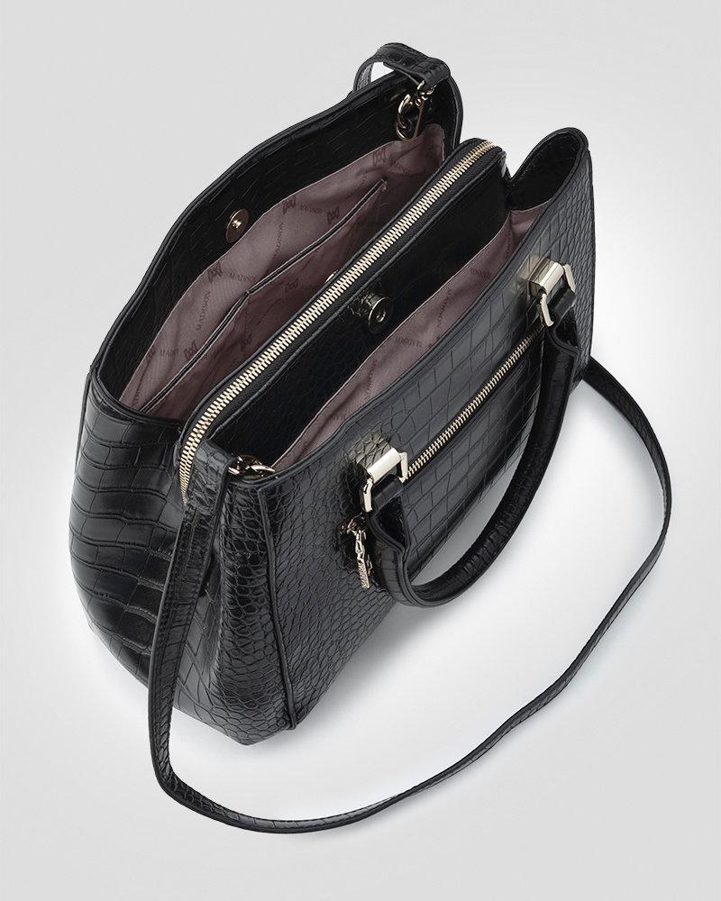 MADISON Penny 3 Compartment Satchel - Black Croc-Emboss