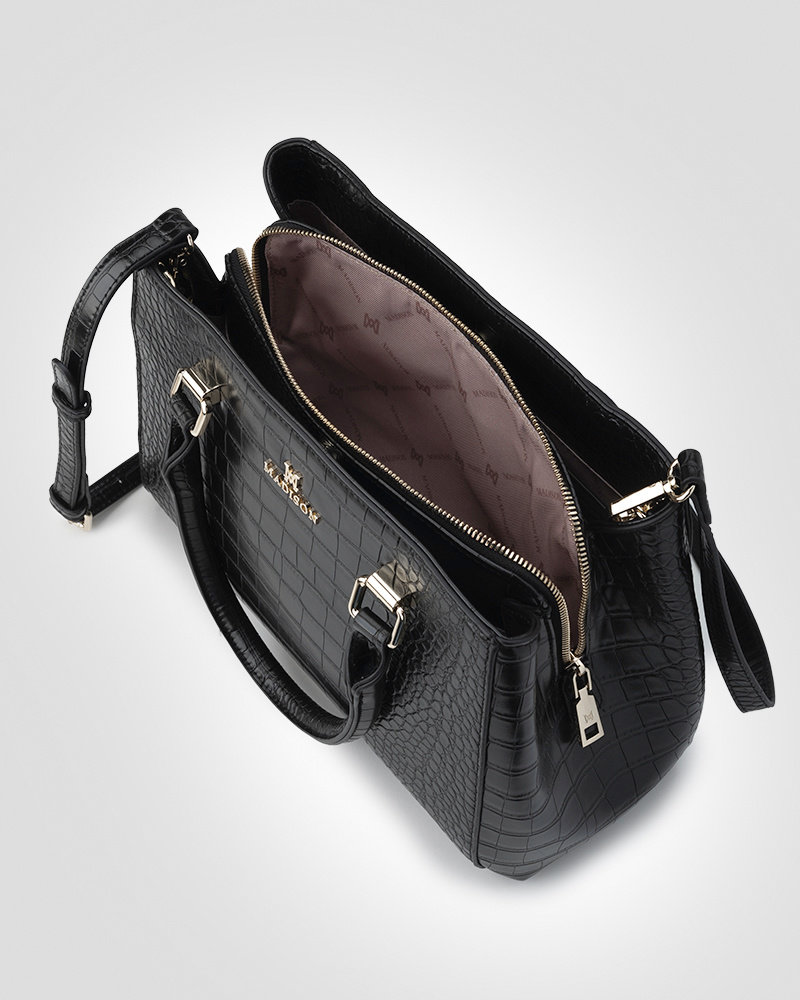 MADISON PENNY 3 COMPARTMENT SATCHEL - BROWN CROC