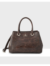 MADISON Penny 3 Compartment Satchel - Brown Croc-Emboss