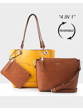 MADISON 4 In 1 Reversable Top & Crossbody Bag - Yellow/Dk Tan