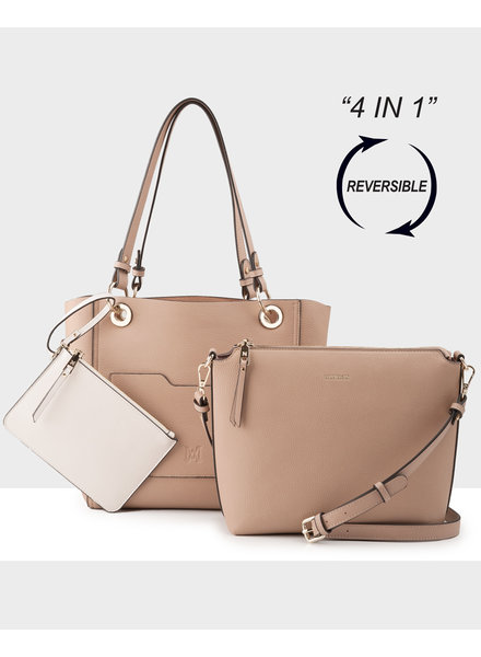 MADISON 4 In 1 Reversable Top & Crossbody Bag - Taupe/Blush/Stone