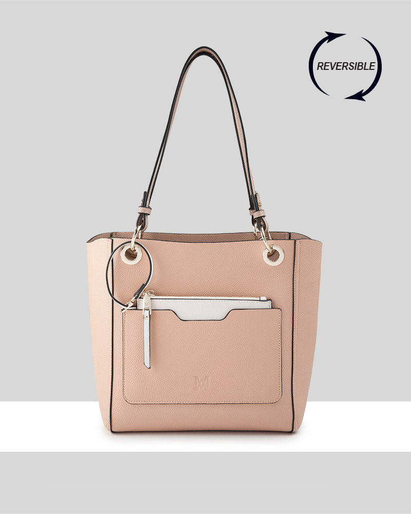 MADISON 4 IN 1 REVERSABLE TOP & CROSSBODY BAG - TAUPE / BLUSH / STONE