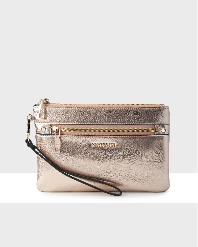 MADISON ELIZA LARGE ZIP POUCH WITH FRONT ZIP MP-1002 ROSE GOLD POUCH
