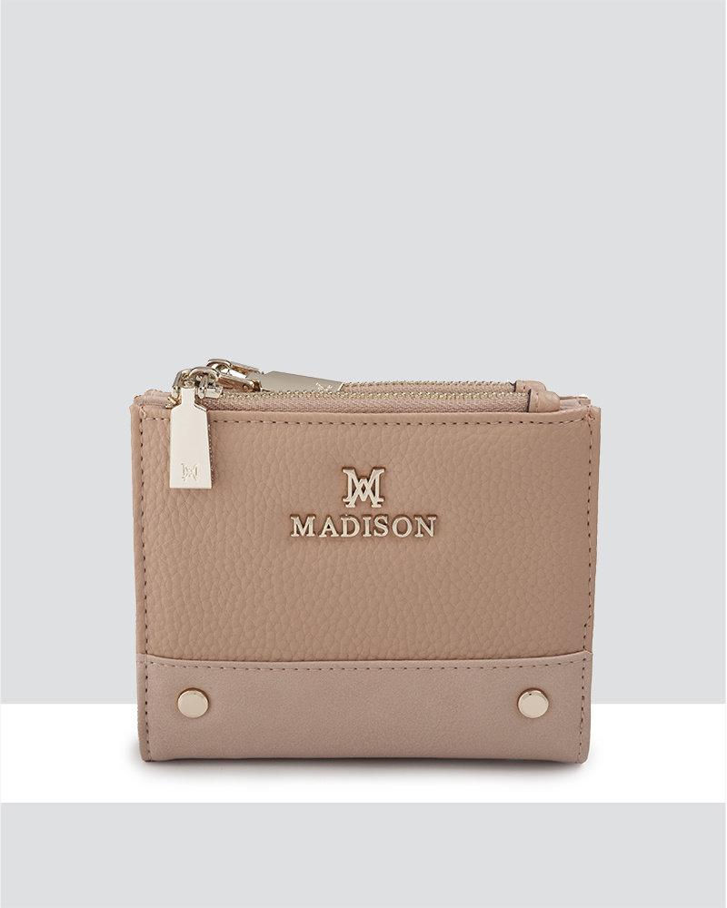 MADISON ARABELLA SMALL DOUBLE ZIP BIFOLD WALLET - DUSTY BLUSH