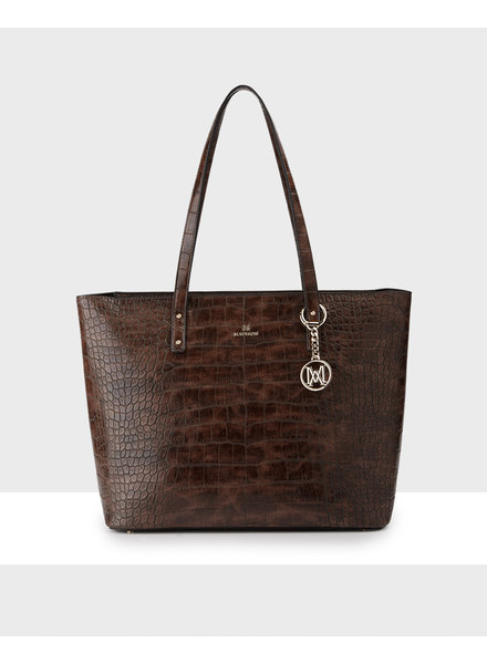MADISON Evelyn Unlined Shopper Tote - Brown Croc-Emboss