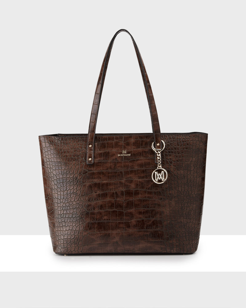 MADISON Evelyn Unlined Shopper Tote - Brown Croc