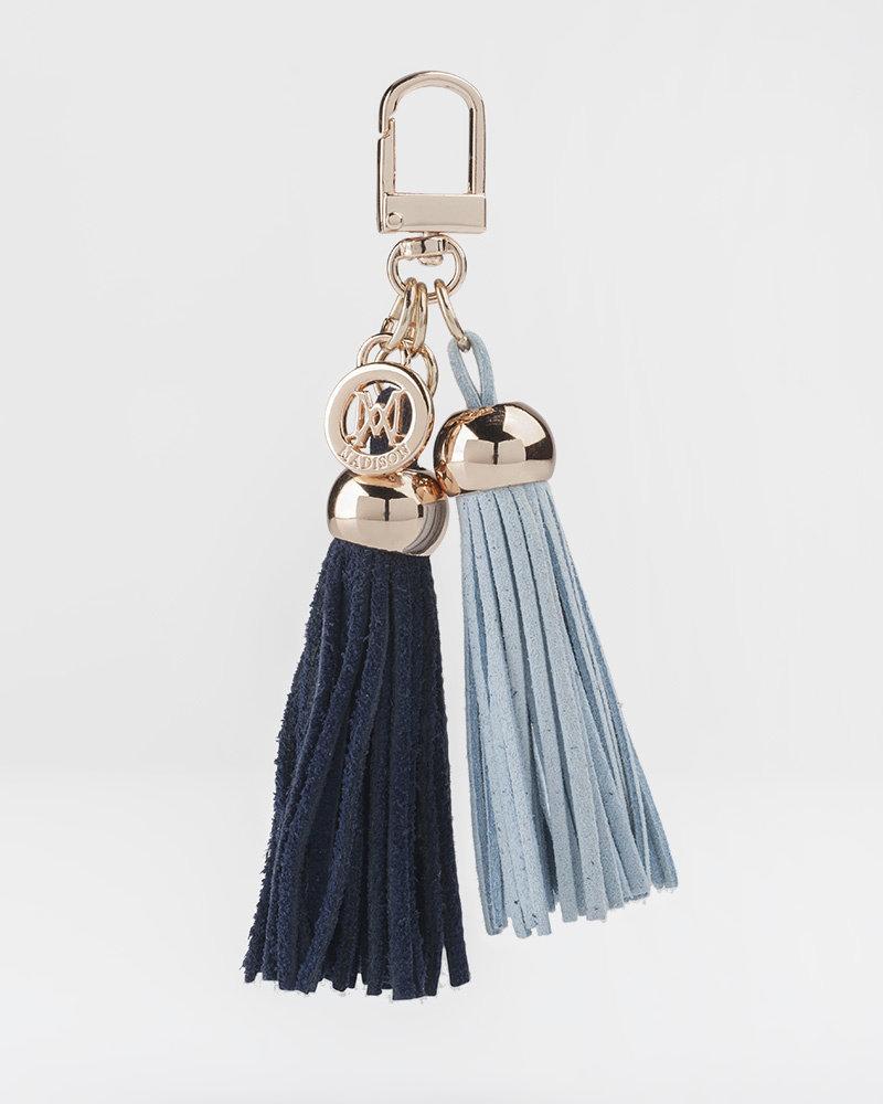 MADISON Darcie Mini 2 Tassel Charm Clip on - Pale Blue/Royal Blue