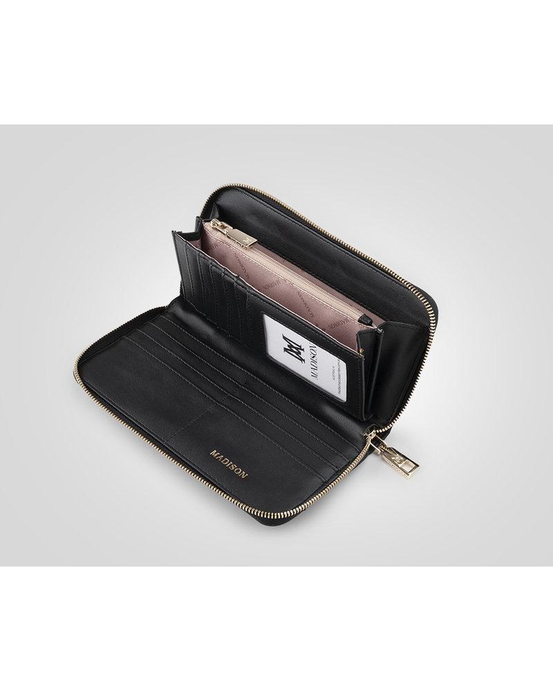 MADISON Abigail Zip Around Open Style Clutch Wallet - Black/Tan
