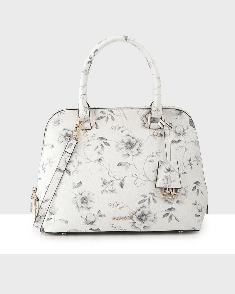 MADISON Grace Medium Dome Satchel - Monochrome Floral