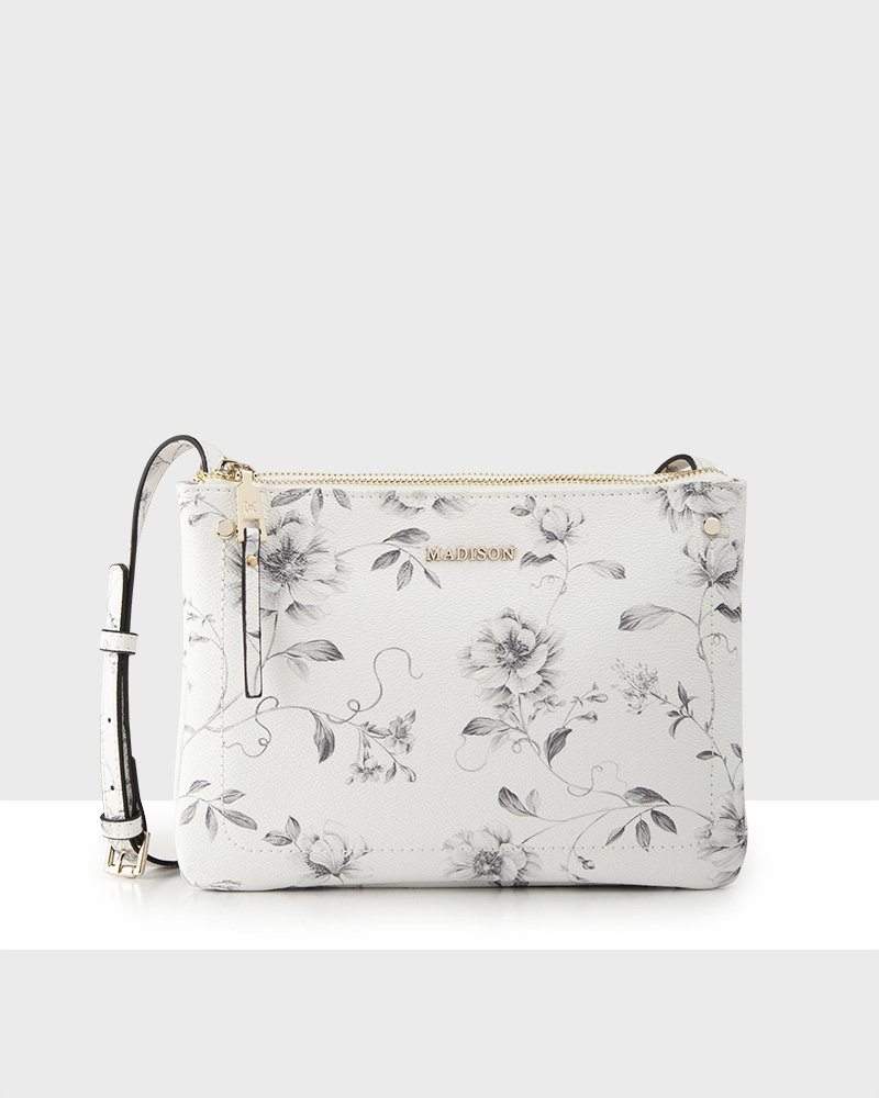 MADISON Charlotte Small Double Gusset Crossbody - Monochrome Floral
