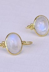 "Fine Jewelry Earring Moonstone ""Capri"" 14K Gold Short Wire"